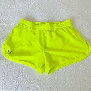 Under Armour Neon Yellow Laser Cut Running Shorts